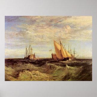 Thames en el Medway de José Mallord Turner Póster