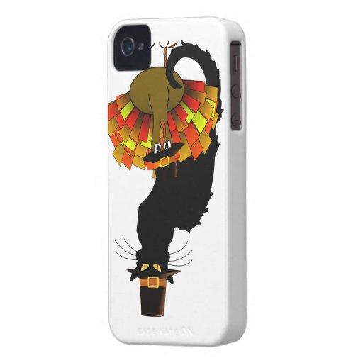 Thanksgiving Le Chat Noir con el peregrino de iPhone 4 Case-Mate Cobertura