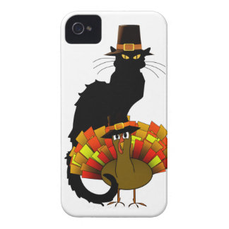 Thanksgiving Le Chat Noir con el peregrino de Case-Mate iPhone 4 Cárcasas