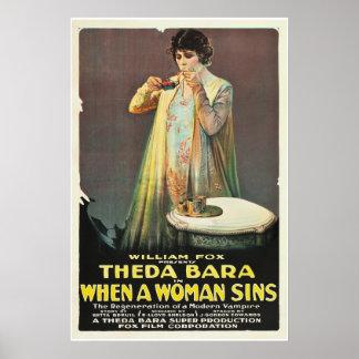 """Theda Bara """"cuando una mujer Sins """" Póster"""