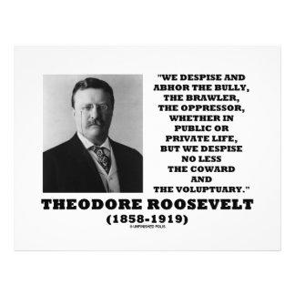 Theodore Roosevelt desdeña al Voluptuary del cobar Tarjeton