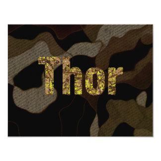 Thor personalizado de la fuente del camuflaje de invitación 10,8 x 13,9 cm