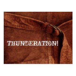 ¡THUNDERATION! texto blanco viejo-timey en la foto Postal