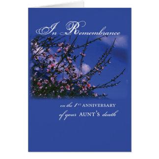 Tía, 1r aniversario de la conmemoración tarjeta de felicitación