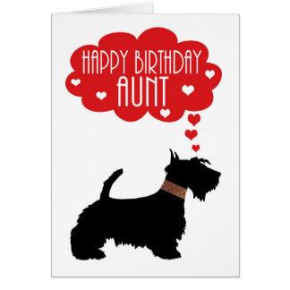 Tía Birthday With Silhouette scottish Terrier Felicitaciones