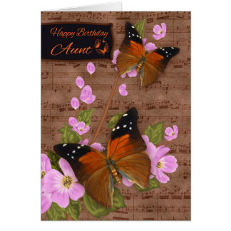 Tía, con la mariposa de la aleta en el flor rosado tarjeta de felicitación