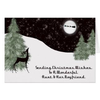 Tía de la paz del navidad y su novio tarjeta de felicitación