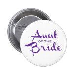 Tía de la púrpura de la novia en blanco chapa redonda de 5 cm