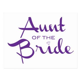 Tía de la púrpura de la novia en blanco postales