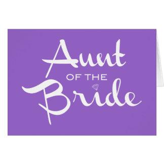 Tía del blanco de la novia en púrpura tarjetas