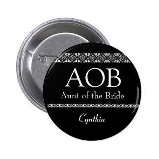 Tía del botón blanco y negro del boda de la novia