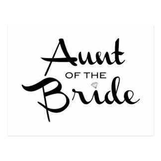 Tía del negro de la novia en blanco postal