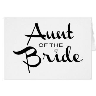 Tía del negro de la novia en blanco tarjetón