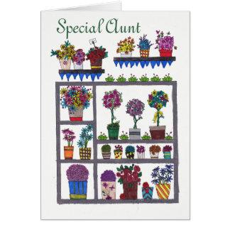 Tía especial Flowers y tarjeta de las plantas
