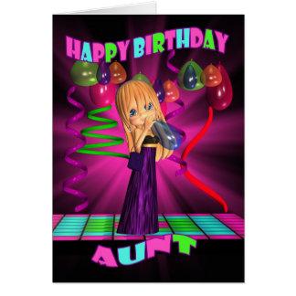 Tía feliz cumpleaños con el pequeño bal lindo de tarjeta de felicitación