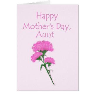 Tía feliz Pink Carnations del día de madre Tarjeta De Felicitación