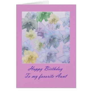 Tía floral violeta Card del feliz cumpleaños Tarjeta De Felicitación