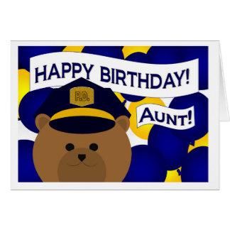 ¡Tía - héroe de la policía del feliz cumpleaños! Tarjeta De Felicitación