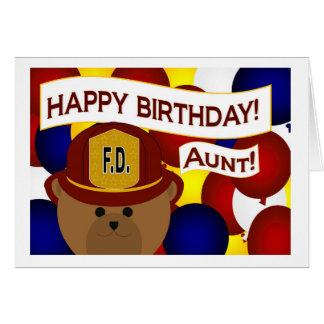 ¡Tía - héroe del bombero del feliz cumpleaños! Tarjeta De Felicitación
