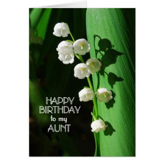 Tía lirio de los valles del feliz cumpleaños tarjeta de felicitación