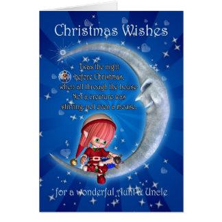 Tía, noche antes del navidad con el duende tarjeta de felicitación