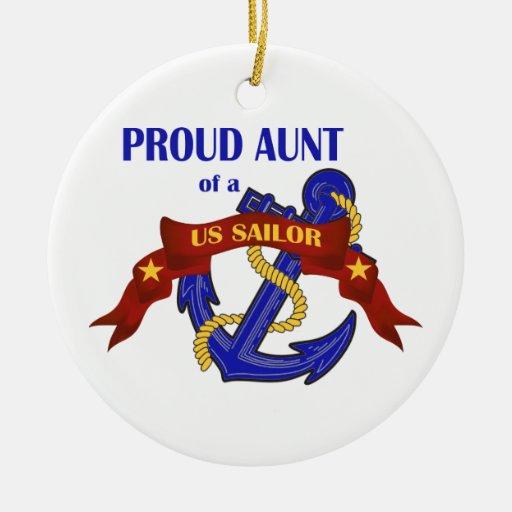 Tía orgullosa de un ornamento del marinero de los  ornamento de navidad