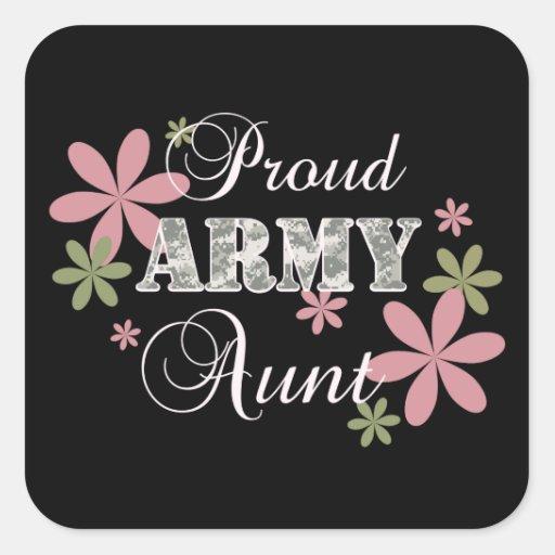 Tía orgullosa del ejército [la Florida c] Pegatinas Cuadradases