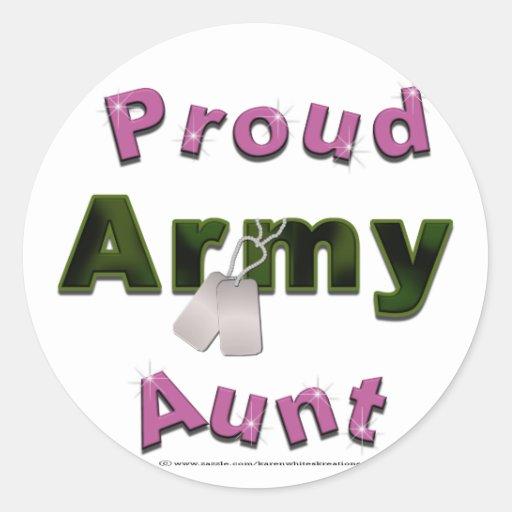 Tía orgullosa Stickers del ejército Etiqueta Redonda