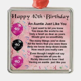 Tía Poem - 40.o cumpleaños Adorno Navideño Cuadrado De Metal