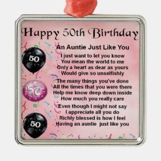 Tía Poem - 50.o cumpleaños Adorno Navideño Cuadrado De Metal
