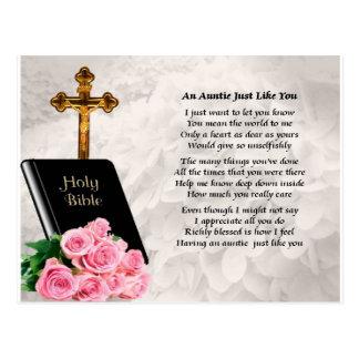 Tía Poem - biblia y rosas Postal