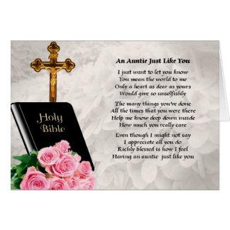 Tía Poem - biblia y rosas Tarjeta De Felicitación