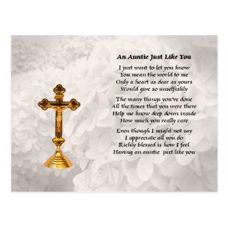 Tía Poem - diseño cruzado de oro Postales