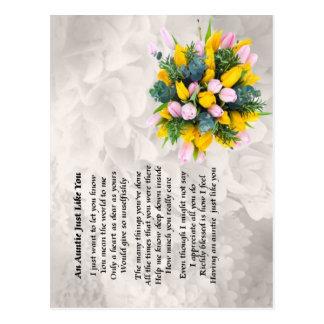 Tía Poem - diseño de las flores Postal