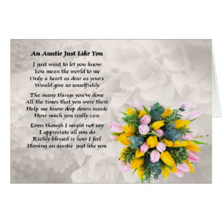 Tía Poem - diseño de las flores Tarjeta