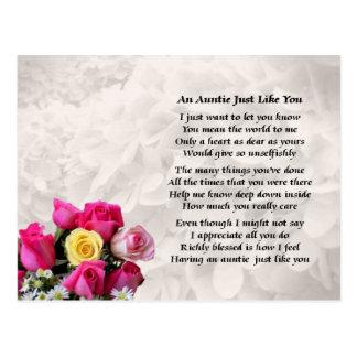 Tía Poem - diseño de los rosas Postal
