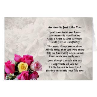 Tía Poem - diseño de los rosas Tarjeta De Felicitación