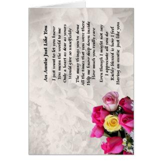 Tía Poem - diseño de los rosas Tarjeton
