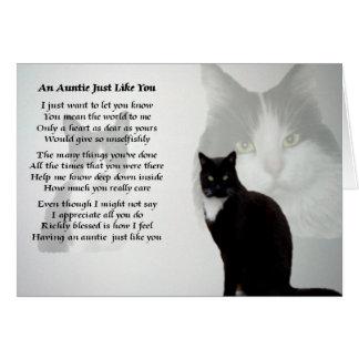 Tía Poem - diseño del gato Tarjeta De Felicitación