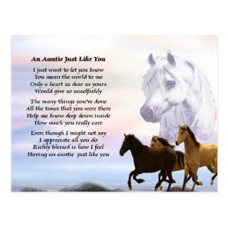 Tía Poem Horses Postales