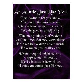 Tía Poem - púrpura Postal