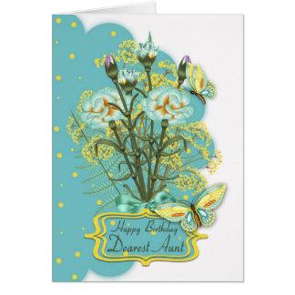 tía, tarjeta de cumpleaños del color del verano co