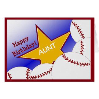 ¡Tía - tía cariñosa del béisbol del feliz Tarjeta De Felicitación