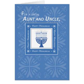 Tía y tío Jánuca Wishes Blue Menorah Tarjeta De Felicitación