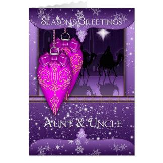 tía y tío, los tres saludos de la estación de los tarjeta de felicitación