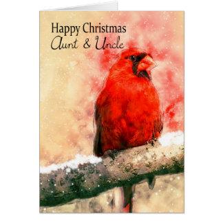 Tía y tío, pájaro del cardenal del navidad de la tarjeta de felicitación