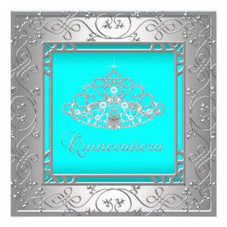 Tiara azul Quinceanera del trullo Invitacion Personalizada