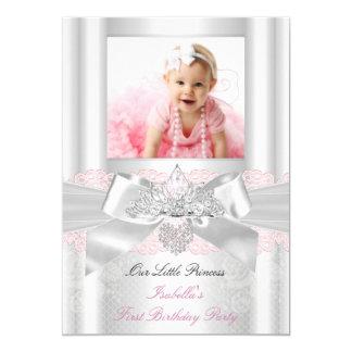 Tiara blanca rosada 2 del diamante del cordón del invitación 12,7 x 17,8 cm