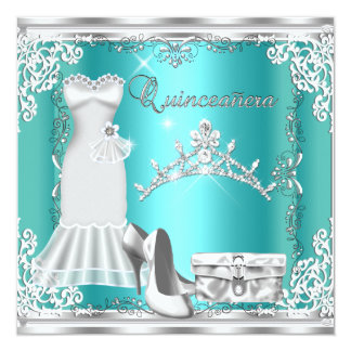 Tiara de plata azul del diamante del décimo quinto invitación 13,3 cm x 13,3cm