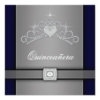 Tiara de plata Quinceanera del corazón del Invitación 13,3 Cm X 13,3cm